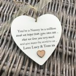 Shabby personalised Gift Chic Heart Plaque Special Nanny ~ Nana Or ANY NAME Gift - 253984907616
